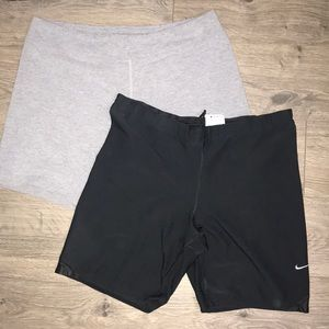 Two pairs of Spandex shorts Nike & Athletic Works